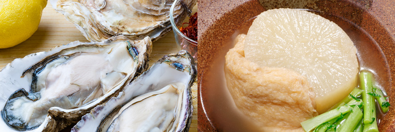 牡蠣、大根と油揚げの煮物