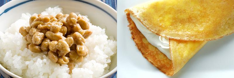 納豆ご飯とクレープ